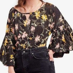 Free People Floral Bell Sleeve Last Time Top